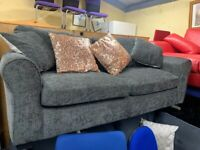 Grey 2 seater fabric sofa with cushions