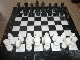 Marble Black and White Chess Set