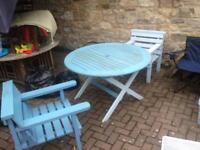 Shabby chic garden table and 2 chairs