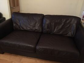 LOVELY BROWN LEATHER THREE SEATER SOFA AND ARMCHAIR