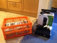 Xbox 360S (250GB) with controllers, headset, Kinect and 40 games.