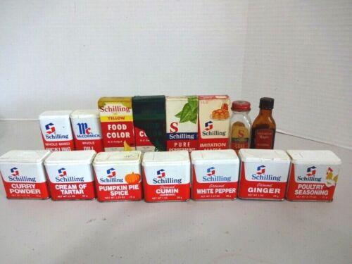 Vintage Schilling Spice Tins and Bottles~ Lot of 15