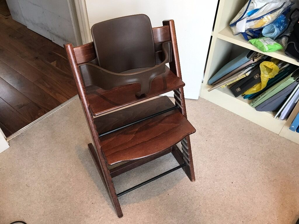 Stokke tripp trapp high chair in walnut with matching baby for Stokke usato tripp trapp