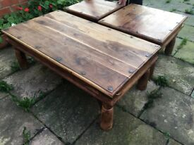 3 beautiful real wood tables. Will sell separately. Solid and in near perfect condition