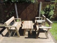 Handmade garden furniture sets (see description for individual item prices)