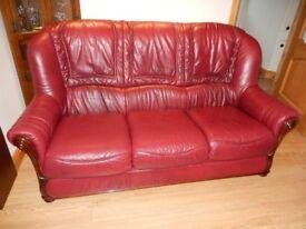 Three piece Burgundy Leather Suite