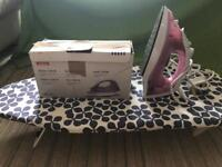 Table ironing board and iron