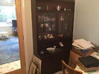 Large Display Unit, Dark Mahogany with Glass Doors