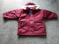 BRAND NEW PLUM COLOUR COAT -for a Girl aged 2-3 yrs