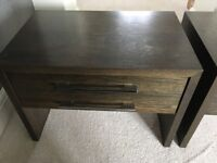 2 x Bedside Drawers Dark wood Northcroft Furniture London well made some marks