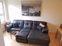 Right hand facing corner sofa and storage footstool - Real Leather