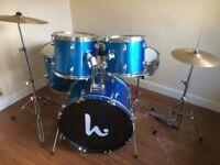 Wokingham Drum Sales - Christmas Drum Kit - Stunning Blue + Hardware, Cymbals, Stool, Practise Pads