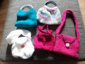 5 hand knitted childrens handbags New