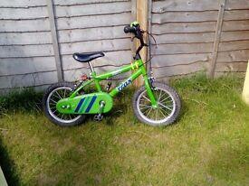 """Boys 14"""" bike, green."""