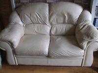 2 X2 SEATER CREAM LEATHER SOFAS