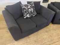BLACK FABRIC 2 SEAT SOFA VERY COMFY WITH ALL CUSHIONS
