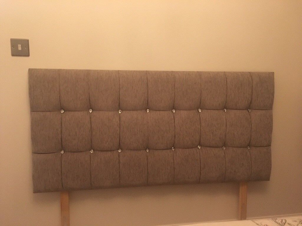 Light grey material double bed headboard with diamonds, in excellent condition