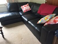 Large 100% leather right hand corner sofa in great condition - can deliver by agreement