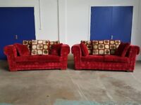 CORINTH DESIGNS LOUNGE SUITE 2 x 2 SEATER DESIGNER FABRIC SOFAS DELIVERY AVAILABLE