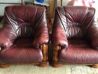 Leather armchairs blood red