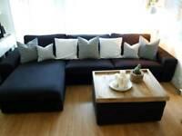 IKEA 4 Seat KIVIK Sofa with Chaise Lounge + Footstool with Storage & Coffee Table * Dark Grey
