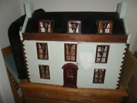 lARGE DOLLS HOUSE , WITH FURNITURE AND OTHER ITEMS. NEEDS A LITTLE TLC.