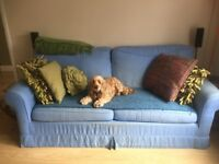 Double sofa bed (requiring reuphoslstery) with sprung fold out mattress ( hardly used)