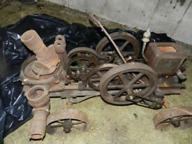 Vintage Fuller and Johnson open crank hit and miss engine and pump set on original trolley