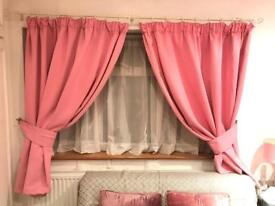 Pink curtains blackout