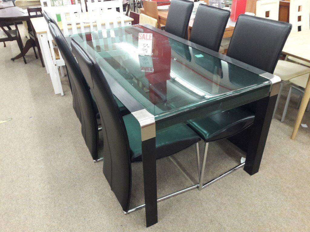 Metal And Glass Dining Table 6 Chairs