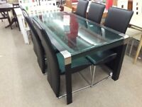 Metal and Glass Dining Table + 6 Chairs
