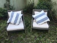 2 outdoor faux wicker chairs plus cushions and table