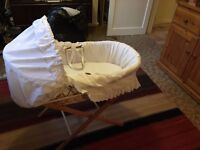 Beautiful Moses basket in excellent condition with a brand new mattress.