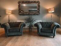 Stunning pair of Chesterfield arm chairs in beautiful grey velvet