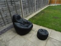 Leatherette Bean Bag Chair with footstool