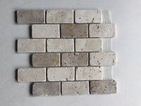 Tumbled Mixed Travertine Brick Mosaic Tiles 48 x 96 mm
