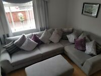 Excellent condition grey corner sofa non snoking household very clean with large poofy £750 ono
