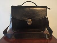 Handsome black leather briefcase