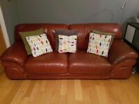 3 & 2 Burgundy Italian Leather Suite Excellent Condition