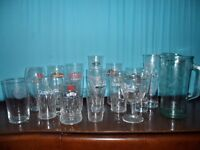 Selection of 15 branded glasses and a Barcardi jug