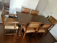 SOLID OAK REFECTORY EXTENDING DINING KITCHEN TABLE AND SET OF 6 SOLID WOOD CHAIRS