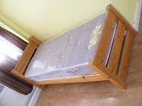 CAN DELIVER - SPACE SAVER 2ft6 SOLID PINE SINGLE BED WITH MATTRESS IN VERY GOOD CONDITION