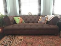 2 x Chesterfield Sofas, soft dark drown leather - beautiful pieces MUST SEE