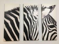 Zebra canvas set of 3