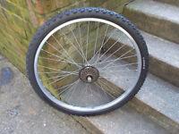 complete rear mountain bike wheel , 26 inch , 6 speed freewheel fitted
