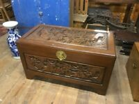 Antique carved Chinese trunk chest box
