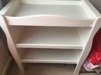 White sleigh changing table