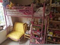Jaybee pink high sleeper bed with desk and single futon