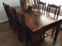 SHEESHAM DINING ROOM TABLE/CHAIRS