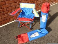 Pair of Children's Fold-Up Camping Chairs, with Carrying Cases and Lockable Frame.